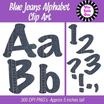 Alphabet Clip Art ~ Blue Jeans Denim ~ For TPT Sellers