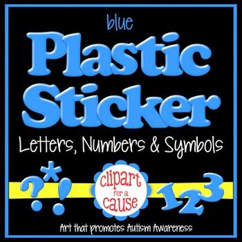 Alphabet Clip Art: Blue Plastic Sticker Letters Numbers & Symbols- 96 pc Set