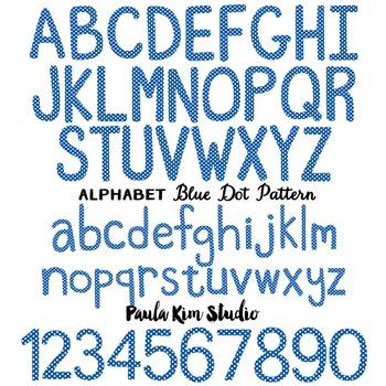 Alphabet Clip Art - Blue Polka Dots