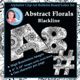 Alphabet Clipart Bulletin Board Letter Set Abstract Florals Black-Line