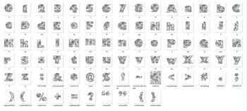 Alphabet Clipart Bulletin Board Letter Set Abstract Florals Black-Line