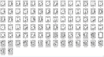 Alphabet Clipart Bulletin Board Letter Set Floral Background Blackline