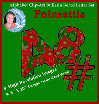 Alphabet Clipart Bulletin Board Letter Set Poinsettias