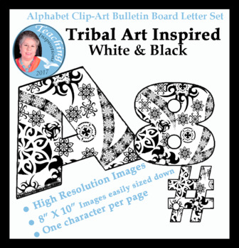Alphabet Clipart Bulletin Board Letter Set Tribal Themed Light