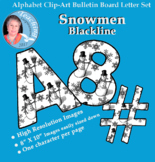 Alphabet Clipart Bulletin Board Letter Set with Black-line Snowmen