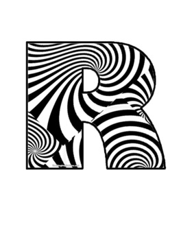 Alphabet Clipart Bulletin Board Letter Set with Black n White Swirls