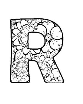 Alphabet Clipart Bulletin Board Letters Black-Line Florals