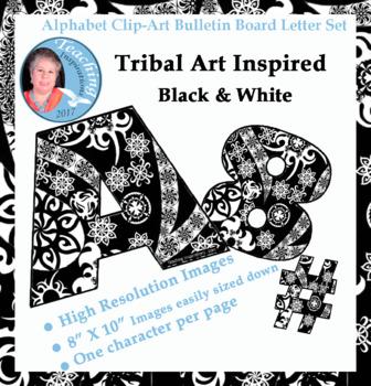 Alphabet Clipart Bulletin Board Letters Set Tribal Art Inspired