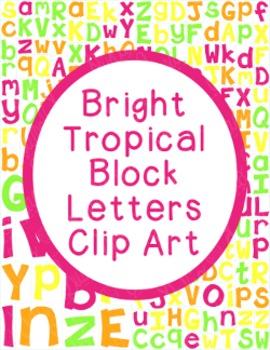 Alphabet Clip Art Bundle Block Letters PNG JPG Commercial Personal Bright