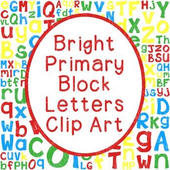 Alphabet Clip Art Bundle Block Letters PNG JPG Commercial Personal Primary