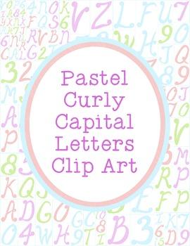 Alphabet Clip Art Bundle Curly Letters PNG JPG Commercial Personal Pastel
