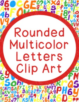 Alphabet Clip Art Bundle Rounded Letters PNG JPG Commercial Personal Colorful