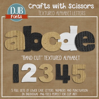 Alphabet Clip Art: Crafts with Scissors Textured Alphabet Letters