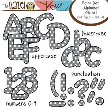 Alphabet Clip Art: Gray Polka Dot Print - Uppercase, Lowercase, & Punctuation