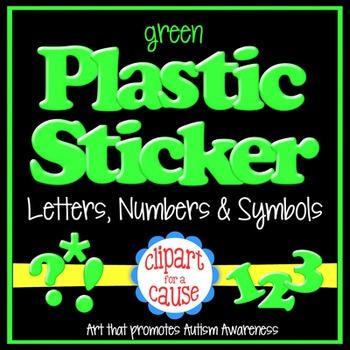 Alphabet Clip Art: Green Plastic Sticker Letters Numbers & Symbols- 96 pc Set