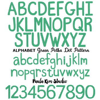 Alphabet Clip Art - Green Polka Dots