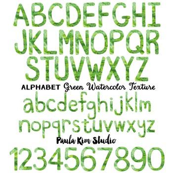 Alphabet Clip Art - Green Watercolor