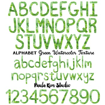 Alphabet Clip Art - Green Watercolor