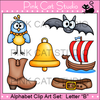Alphabet Clip Art: Letter B - Phonics Clipart Set - Personal or Commercial Use