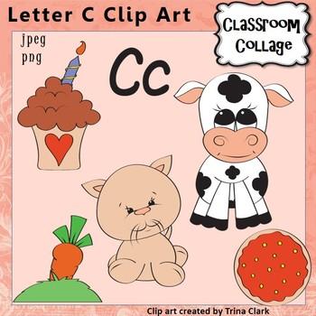 """Alphabet Clip Art Letter C - Items start w letter C sound """"K"""" {Color} pers/comm"""