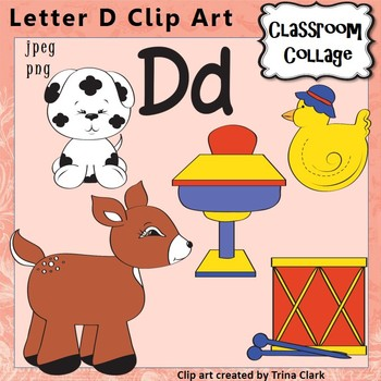 Alphabet Clip Art Letter D - Items start with D sound {Color} pers/comm use