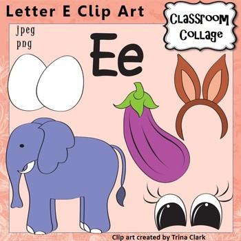 {Alphabet Clip Art Letter E} Items start w letter E sound