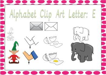 Alphabet Clip Art: Letter E - Phonics Clipart Set - Commercial Use Okay