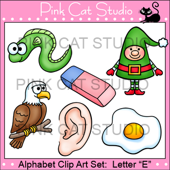Alphabet Clip Art: Letter E - Phonics Clipart Set - Personal or Commercial Use