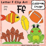Alphabet Clip Art Letter F - Items start w F sound - Color pers/commercial use