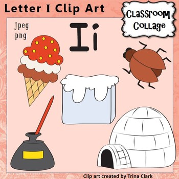Alphabet Clip Art Letter I - Things start with I {Color} pers/commercial use