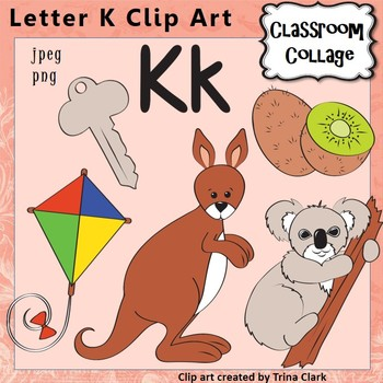 Alphabet Clip Art Letter K - Items start with K {Color} pe