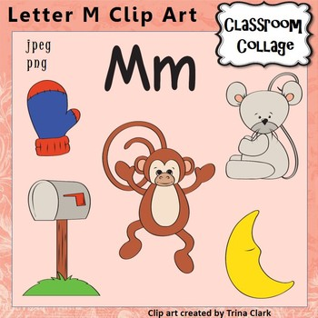 Alphabet Clip Art Letter M - Items start with M - Color - pers/commercial use