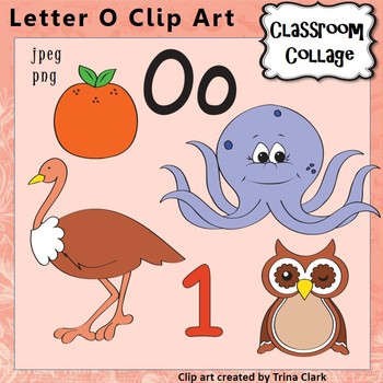 Alphabet Clip Art Letter O - Items start with O - Color -