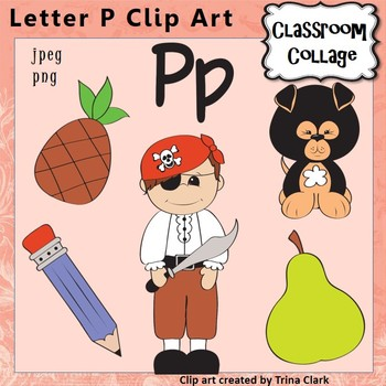 Alphabet Clip Art Letter P - Items start with P - Color - pers/commercial use
