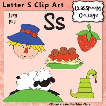 Alphabet Clip Art Letter S - Items start with S - Color - pers/comm use