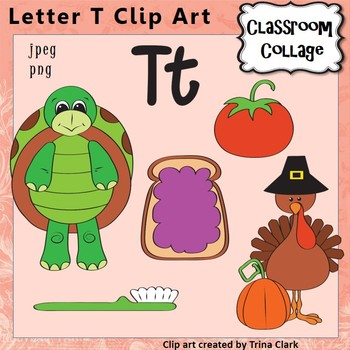 Alphabet Clip Art Letter T - Items start w T - Color - pers/comm use