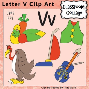 Alphabet Clip Art Letter V - Items start with  V - Color - personal/comm use
