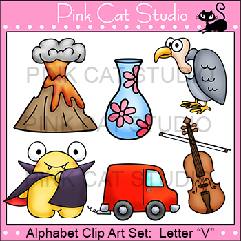 Alphabet Clip Art: Letter V - Phonics Clipart Set - Personal or Commercial Use
