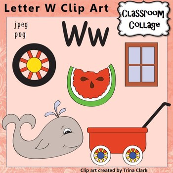 Alphabet Clip Art Letter W - Items start with W - Color personal/commercial use