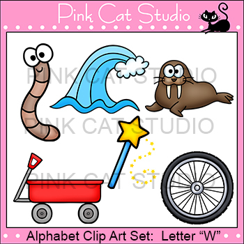 Alphabet Clip Art: Letter W - Phonics Clipart Set - Personal or Commercial Use