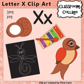 Alphabet Clip Art Letter X - Items start w X - Color perso