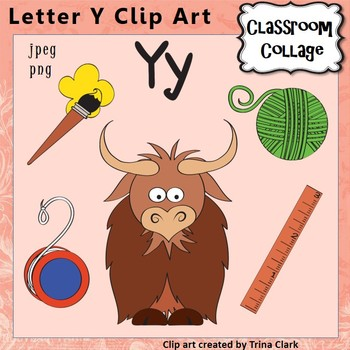 Alphabet Clip Art Letter Y - Items start w Y - Color personal/commercial