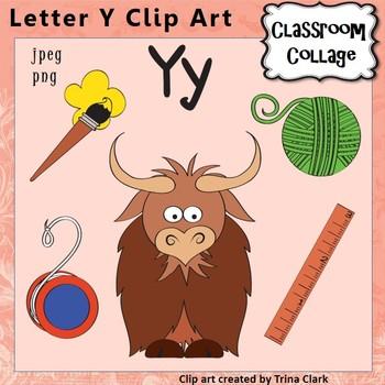 Alphabet Clip Art Letter Y - Items start w Y - Color perso