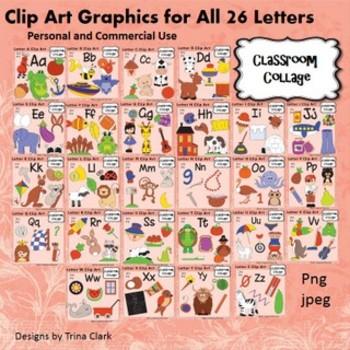 Bundle Alphabet Color Clip Art - 5 or more pics per letter