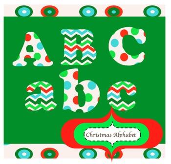 Alphabet Clip Art Letters :Snowy Christmas Color Palette (personal / commercial)