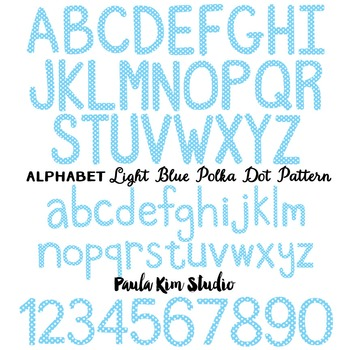 Alphabet Clip Art - Light Blue Polka Dots