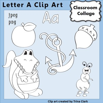 Alphabet Clip Art Letter A Line Drawings - Items start with A B&W pers/comm