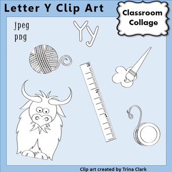 {Alphabet Clip Art Line Drawings} Items start w Letter Y {B&W} pers/comm