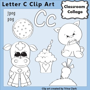 Alphabet Clip Art Letter C - Line Drawings - B&W pers/comm use