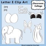 Alphabet Clip Art Letter E Line Drawings B&W pers/comm